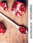 red pomegranate fruit. ripe... | Shutterstock . vector #604108862