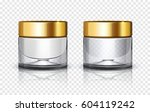 glass cosmetic jar with golden... | Shutterstock .eps vector #604119242