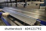 worker in factory at metal skip ... | Shutterstock . vector #604121792
