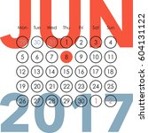 calendar for 2017. june. a week ...