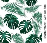 tropical palm leaves. jungle... | Shutterstock .eps vector #604131488