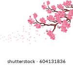 branches with pink cherry... | Shutterstock .eps vector #604131836