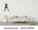mock up wall in child room... | Shutterstock . vector #604133096