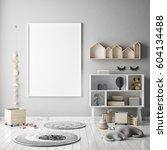 mock up poster frame in... | Shutterstock . vector #604134488