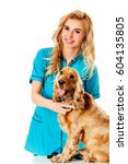young smile female veterinarian ... | Shutterstock . vector #604135805
