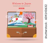 welcome to japan. japan tourism ... | Shutterstock .eps vector #604143632