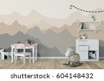 mock up wall in child room... | Shutterstock . vector #604148432