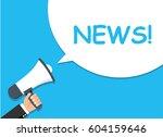 hand holding megaphone.... | Shutterstock .eps vector #604159646