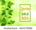 green banner for sale and... | Shutterstock .eps vector #604170086