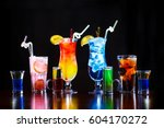colorful cocktails  | Shutterstock . vector #604170272
