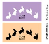 two easter greeting cards with... | Shutterstock .eps vector #604183412