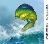 mahi mahi or dolphin fish on... | Shutterstock . vector #604183556