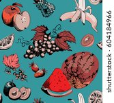 various fruits seamless pattern.... | Shutterstock .eps vector #604184966