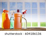 assorted cleaning products | Shutterstock . vector #604186136