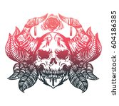 scull tattoo art with horns and ... | Shutterstock .eps vector #604186385