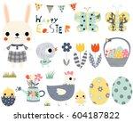 happy easter fun vector set... | Shutterstock .eps vector #604187822