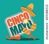 cinco de mayo sombrero  maracas ... | Shutterstock . vector #604188212