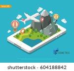 flat isometric huge smartphone  ... | Shutterstock .eps vector #604188842