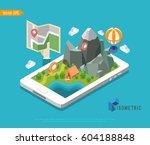 isometric mobile gps navigator. ... | Shutterstock .eps vector #604188848