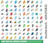100 social media icons set in... | Shutterstock .eps vector #604192832