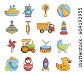 kids toys icons set. cartoon... | Shutterstock .eps vector #604192955