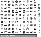 100 parking icons set. simple... | Shutterstock .eps vector #604193792