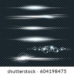 vector set of glow lightning... | Shutterstock .eps vector #604198475