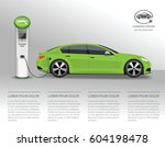vector banner with electric car ... | Shutterstock .eps vector #604198478