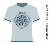 vintage compass rose t shirt.... | Shutterstock .eps vector #604231646