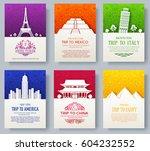 set of art ornamental travel...   Shutterstock .eps vector #604232552