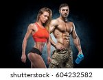 man and woman on a dark... | Shutterstock . vector #604232582