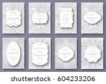 set of wedding card flyer pages ... | Shutterstock .eps vector #604233206