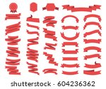 ribbon vector icon set on white ... | Shutterstock .eps vector #604236362