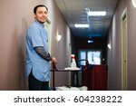 a man who is on the hotel... | Shutterstock . vector #604238222