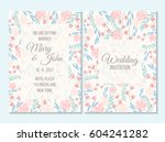 pink and blue pastel wedding... | Shutterstock .eps vector #604241282