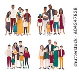 set of large family portrait.... | Shutterstock .eps vector #604247828
