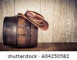 wild west retro leather cowboy... | Shutterstock . vector #604250582