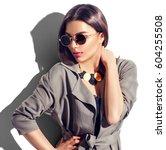 beauty fashion brunette model... | Shutterstock . vector #604255508