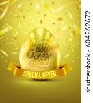 easter eggs in gold color for... | Shutterstock .eps vector #604262672