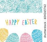 happy easter card. vector... | Shutterstock .eps vector #604265762