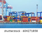 port cargo crane and container  ... | Shutterstock . vector #604271858