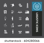 logistic icon set clean vector | Shutterstock .eps vector #604280066