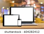 laptop smartphone and tablet... | Shutterstock . vector #604282412