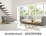 white room with sofa and green... | Shutterstock . vector #604283486