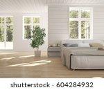 white bedroom with green...   Shutterstock . vector #604284932