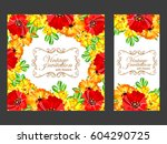 invitation with floral... | Shutterstock . vector #604290725