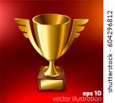 realistic gold cup for first... | Shutterstock .eps vector #604296812