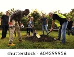 group of diverse people digging ... | Shutterstock . vector #604299956