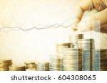 double exposure of city  graph...   Shutterstock . vector #604308065