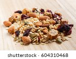 close up granola or muesli on... | Shutterstock . vector #604310468